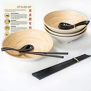 4 Large Ramen Bowl Melamine Noodle Bowl Set (49.5 Oz) Chopsticks And Ramen Spoons by Cotswold Homeware Co Asian Chinese Ja...