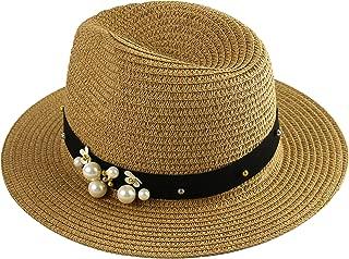 Wasolola Straw Hat for Women Panama Wide Brim UV Protection Sun Beach Hats for Women Adjustable Pearl Decoration
