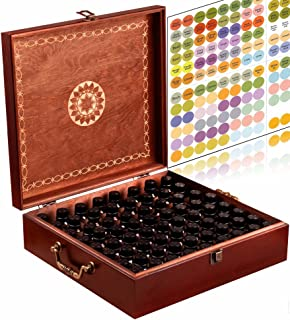 Beautiful Essential Oil Storage Box Organizer 69 Bottle - With 2 Carry Handles - Holds 5-10-15-30ML & 10ml Rollers (Space for 2oz-4oz Bottles) Free Bottle Opener & 192 EO Labels Wooden Oil Case Holder