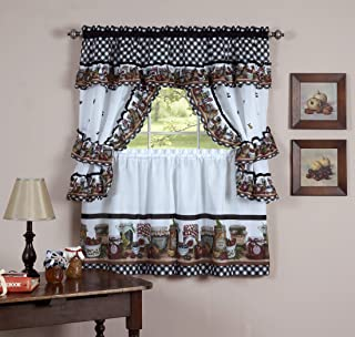 naturally home Royal Decorative Printed Kitchen Curtain Cottage Set with Mason Jars - 57x24