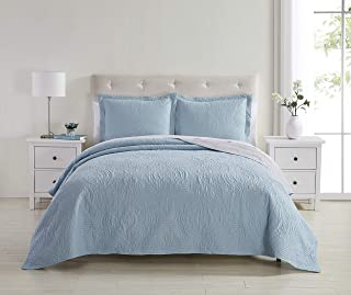Spirit Linen Home Quilt Set 3pc Fantastic Feels Embossed Reversible Quilts with 2 Pillow Sham Multiple Color Options (Light Blue, Grey Full Queen)