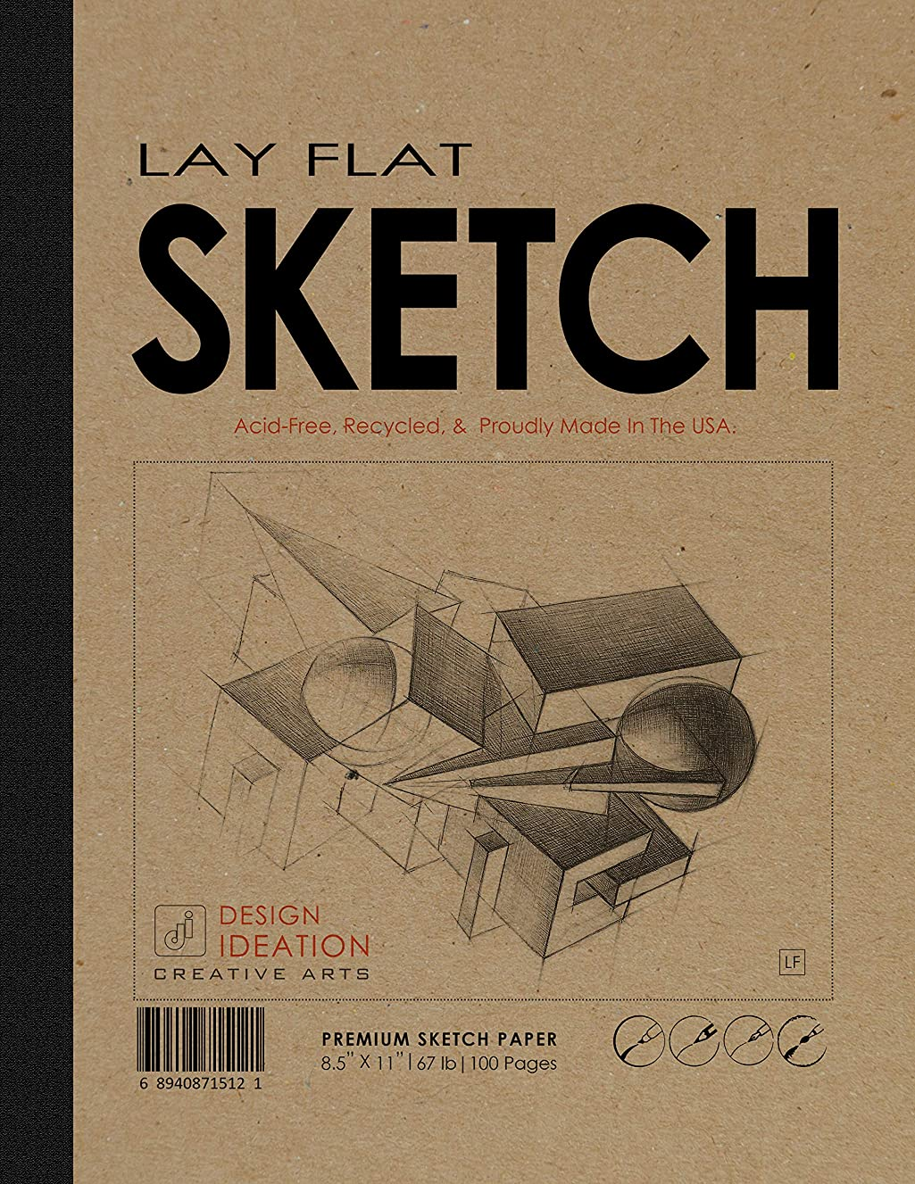 Design Ideation LAY FLAT : Premium Paper Multi-Media Sketch Book for Pencil, Ink, Marker, Charcoal and Watercolor Paints. Great for Art, Design and Education. 8.5