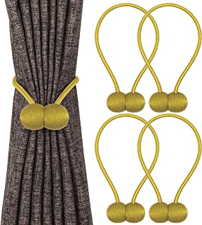 Topspeeder 4 Pack Magnetic Curtain Tiebacks, Decorative Weave Rope Curtain Holdbacks, Simple Modern Drape Tie Backs for Bedroom Bathroom Kitchen Office and Outdoor Window Drapes,16 Inch(Gold)