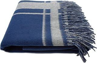 State Cashmere Reversible Throw Blanket with Fringes Merino Wool Cashmere Soft Accent Home Bed Spread • 70 x 50 Inches