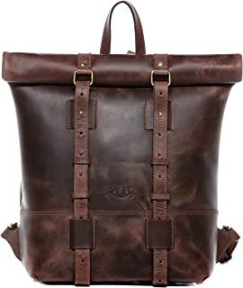 SID & VAIN Rucksack echt Leder CHAZ | Vintage-Look | XXL groß Backpack Tagesrucksack Kurierrucksack 15,4 Laptop Leder-Rucksack Herren