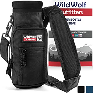 #1 Best Water Bottle Holder for 25 oz Bottles - Carry, Protect and Insulate Your Flask with This Military Grade Carrier w/ 2 Pockets and an Adjustable Padded Shoulder Strap.