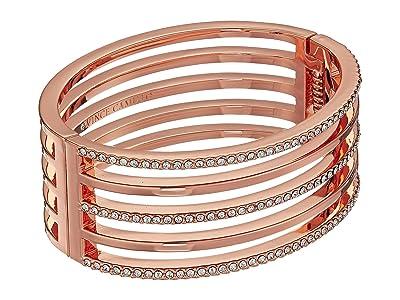 Vince Camuto Crystal Pave and Metal Hinge Bangle Bracelet (Rose Gold) Bracelet