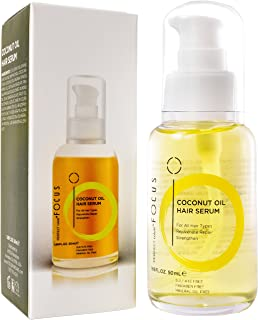 Coconut Oil Hair Serum - Natural Hair Oil Infused with Raw Virgin Olive Oil, Sweet Almond and Keratin - Smoothing Hair Oil for Frizzy, Dry & Damaged Hair - 50ml (1 Pack)