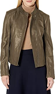Cole Haan womens Cole Haan Stand Collar Jacket Leather Jacket
