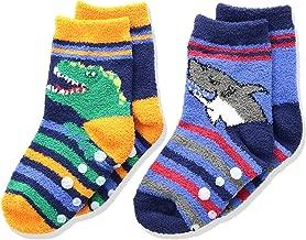 Jefferies Socks Boys' Little Dinosaur and Shark Fuzzy Non-Skid Slipper Socks 2 Pair Pack