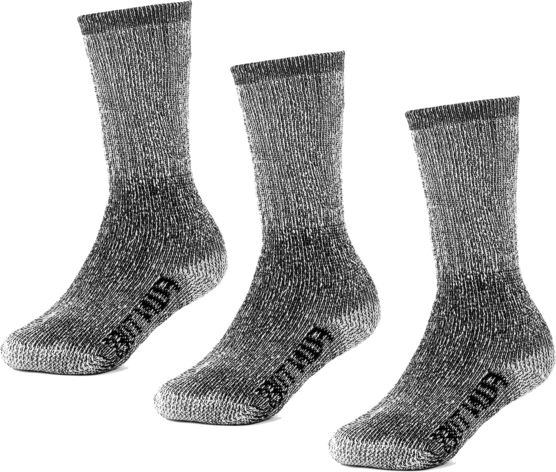 FUN TOES Kids 70% Merino Wool Thermal Insulated Warm Crew Hiking Socks 3 Pairs Pack