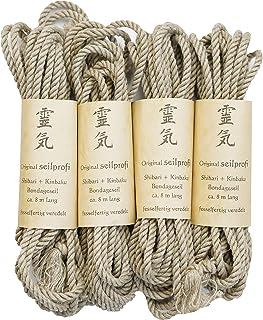 Seilprofi - professionelles Bondageseil aus hochwertigem Hanf, naturfarben, 5,5 mm, 4X 8 m - fesselfertig