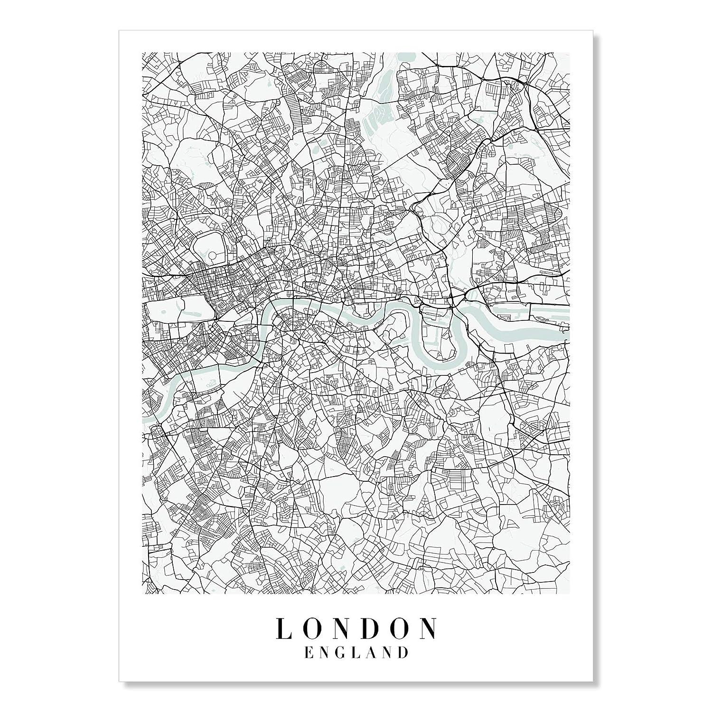 London Nashville-Davidson Mall England Blue excellence Water Street Print Unframed Map
