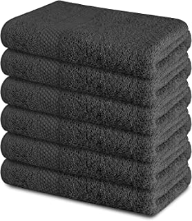 """SOFTILE COLLECTION Cotton Bath Towels Set Ultra Soft 100% Cotton Large Bath Towel - Grey 24"""" x 48"""" Pack of 6 Grey Highly A..."""