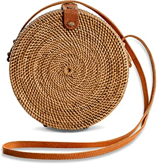 Rattan Bags for Women - Handmade Wicker Woven Purse Handbag Circle Boho Bag Bali