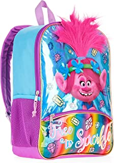 Personalised Official Trolls Poppy Character 3D Hair Backpack Kid/'s Bag