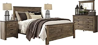 Ashley Trinell 5PC Bedroom Set E King Panel Bed Two Nightstand Dresser Mirror in Brown