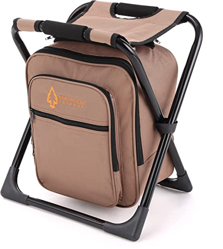 new arrival Folding Stool 3 in 1 Fishing Backpack Fishing Backpack Chair Seat with Cooler Bag Compact Folding Hiking Camping Stool Portable Insulated Cooler Picnic Bag sale Beach Chair Backpack Stool wholesale Heavy Duty - Tan outlet online sale