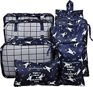 Vercord 8 Pcs Packing Cubes Pods Travel Luggage Suitcase Organizer and Shoes Laundry Bags Unicorn