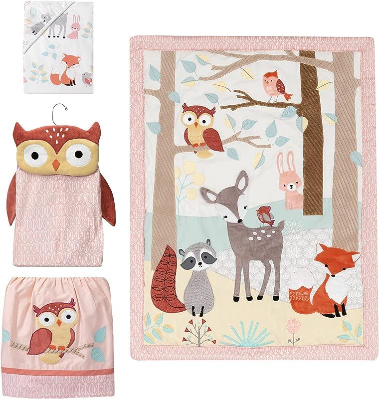 Lambs Ivy Little Woodland Forest Animals 4 Piece Crib Bedding Set Pink White