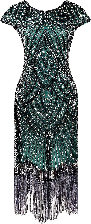 Women's Flapper 1920s Sequins Art Deco Gatsby Cocktail Halloween Christmas Dress