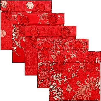 A/ño Nuevo 4 Unidades Sobres Rojos Seda Boda Sobres Seda con Bordado Chino para Navidad Suerte Sobre Tarjeta Regalo Elemento Chino 2 Estilos