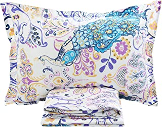 FADFAY 4 Piece Peacock Bed Sheet Set Luxury Bedding Collections Designer Bedding 800 Thread Count 100% Egyptian Cotton Deep Pocket- Twin