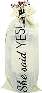 Pavilion Gift Company She Said Yes Reusable Drawstring Bottle Bag With Stopper, 13.5 Inch, White