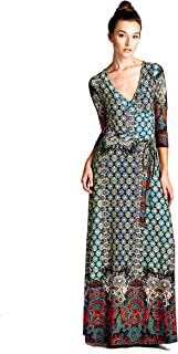 Women's Paris Bohemian V-Neck Printed 3/4 Sleeve Faux Wrap Long Maxi Resort Dress