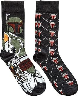 Boba Fett Argyle Men's Crew Socks 2 Pair Pack Shoe Size 6-12