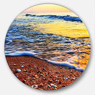 Designart Sunset Reflecting in Blue Waves Seashore Round Wall Art Disc of 23 inch, 23X23-Disc