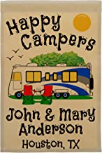 Happy Campers Personalized Motorhome Campsite Flag, Customize Your Way, Flag Only (Blue/Gray Trim)