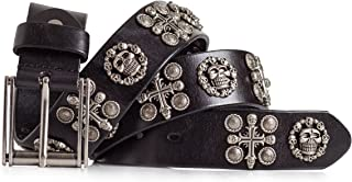 Skull and Cross Belt Interchangeable Buckle Italian Full Grain Leather