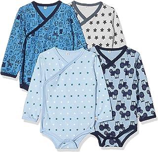 Pippi baby – pojkar Pippi 4er Pack Baby Wickelbody mit Aufdruck, Langarm Shaping Bodysuit