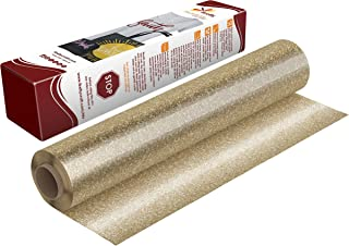 Firefly Craft Gold Glitter Heat Transfer Vinyl | Gold Glitter HTV Vinyl | Gold Glitter Iron On Vinyl for Cricut and Silhouette | 5 Feet by 12.25 Roll | Heat Press Vinyl for Shirts