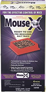 EcoClear Products 620109, MouseX All-Natural Non-Toxic Humane Mouse Killer Pellets, Ready-To-Use Pre-Measured 3 oz. Bait Trays, 4-Pack