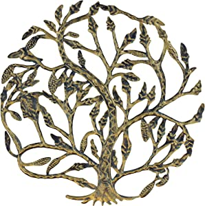 Top Brass Metal Tree of Life Wall Plaque 14 Inches Decorative Spiritual Celtic Garden Art Sculpture