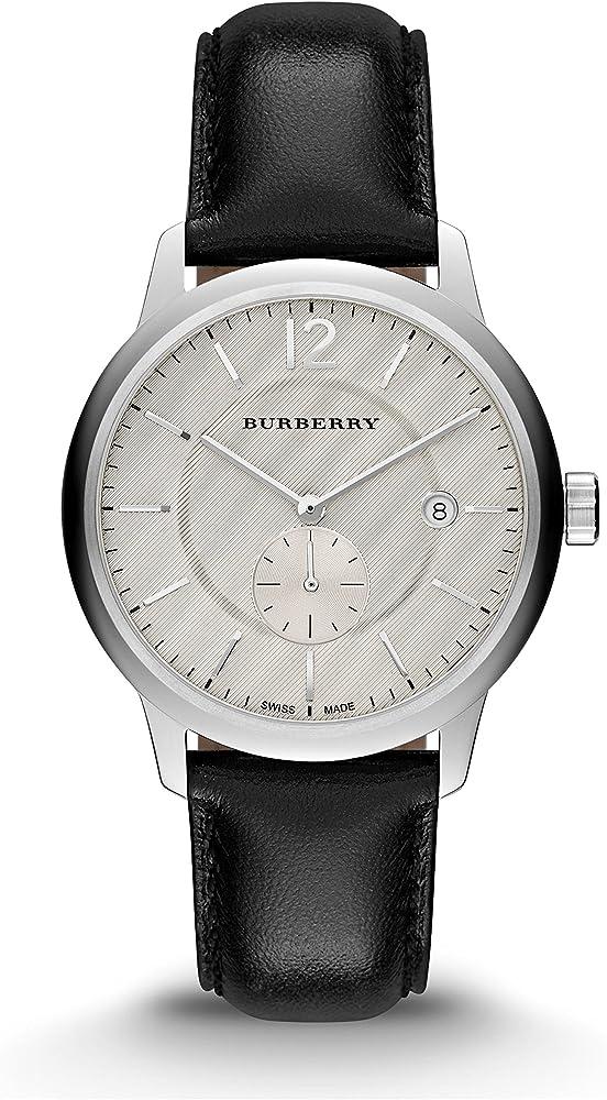 Burberry.orologio automatico per uomo,con cinturino in vera pelle e cassa in acciaio inossidabile BUR10000