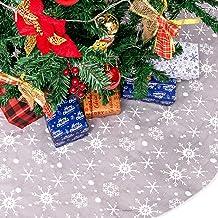 Kerstboom Rok Double Layers Ontwerp Grijze en Witte Sneeuwvlok Carpet 47 Inch Boerderij Boom Mat for Xmas Part zcaqtajro (...