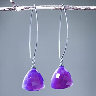 Triangular purple chalcedony earrings with silver wire wrapped on sterling silver marquise ear wires