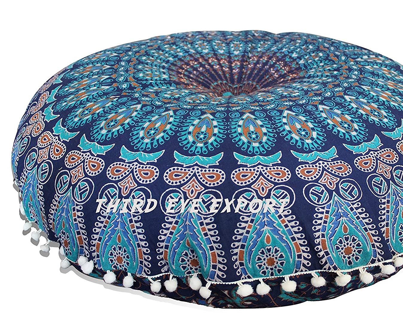 Third Eye Export - 32 in Mandala Barmeri Large Round Floor Pillow Cover Cushion Meditation Seating Ottoman Throw Cover Hippie Decorative Zipped Bohemian Pouf (Blue Cover Only, 32 Inches)