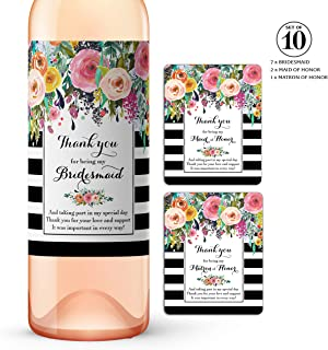 Thank You for being My Bridesmaid Wine Bottle Labels ● SET of 10 ● Bridesmaid Gifts, Bridal Party Thank You Gift Ideas, Bridal Party Thank You Card Alternative, Black, WEATHERPROOF, A104-THANK-10