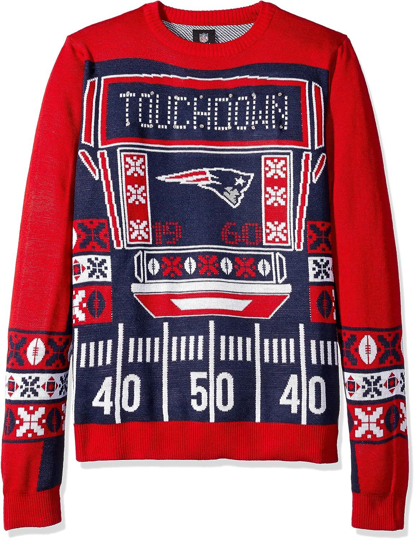 FOCO NFL New England Patriots Mens Ugly Light Up Crew Neck Sweaterugly Light Up Crew Neck Sweater Team color XXLarge