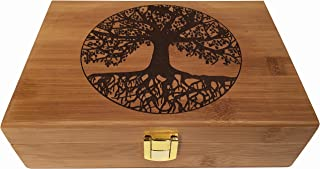 Blake & Lake Tree of Life Wood Stash Box - Wooden Stash Boxes Engraved Tree Design - Wood Box with hinged lid Decorative Wooden Boxes with Lid (Tree of Life)