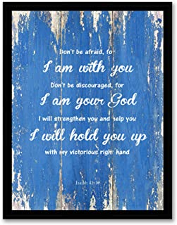 Isaiah 41:10 Don't be Afraid, for I am with you - FRAMED - Bible Verse Quote Canvas Print, Black Real Wood Framed, Blue, 1...