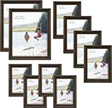 MCS 10pc Picture Frame Value Set - Two 8x10 in, Four 5x7 in, Four 4x6 in, Antique Pine Stain (65706)