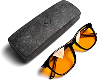 THL Sleep Blue Light Blocking Reading Glasses for Better Sleep - Amber Orange Computer Filter Anti Eye Strain Lenses (Black) Regular