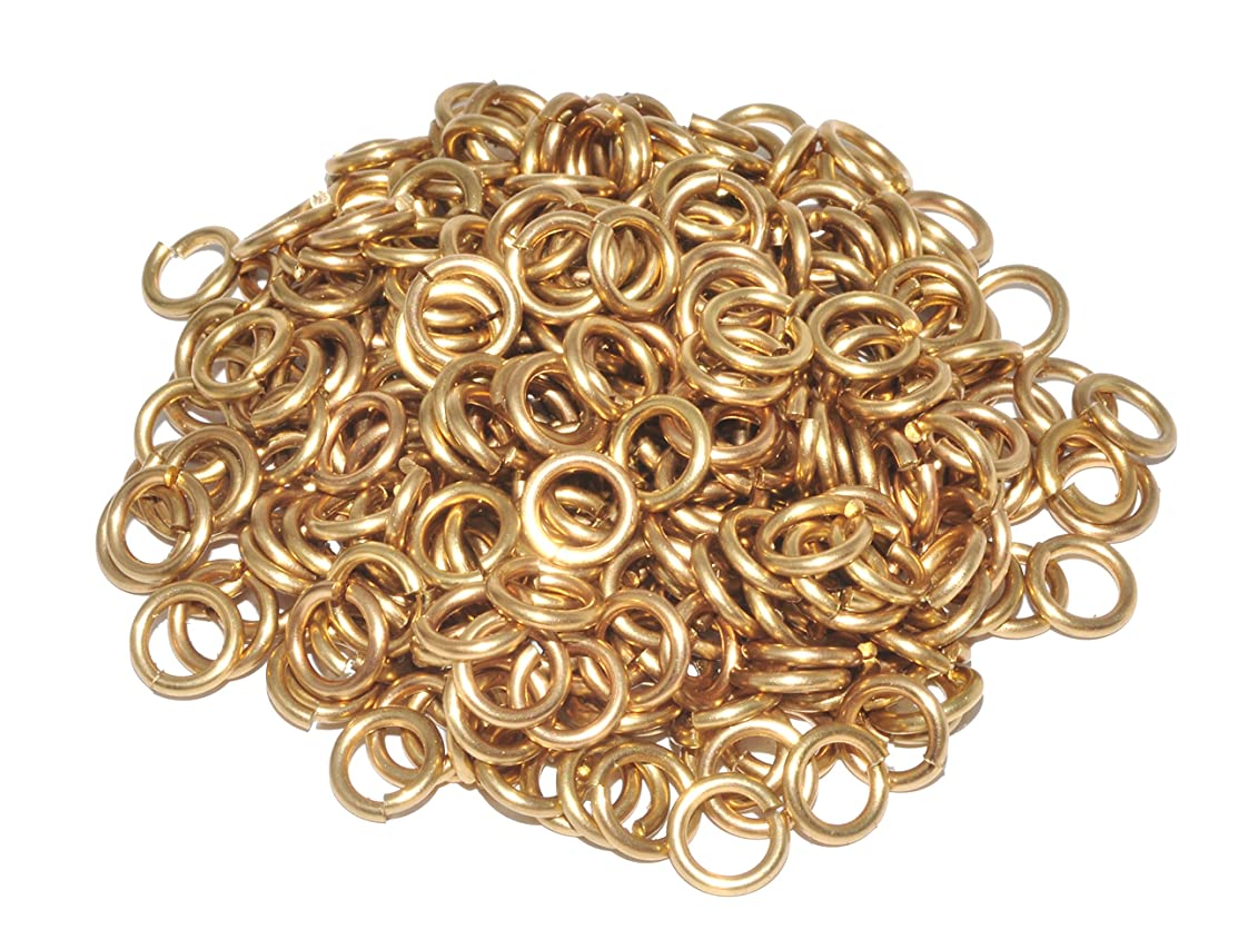 Mandala Crafts Wholesale Small Solid Brass Metal Open Jump Ring Finding Supplies in Bulk for Chain Jewelry Making (1.2mm 16 Gauge X 7mm, Solid Brass)