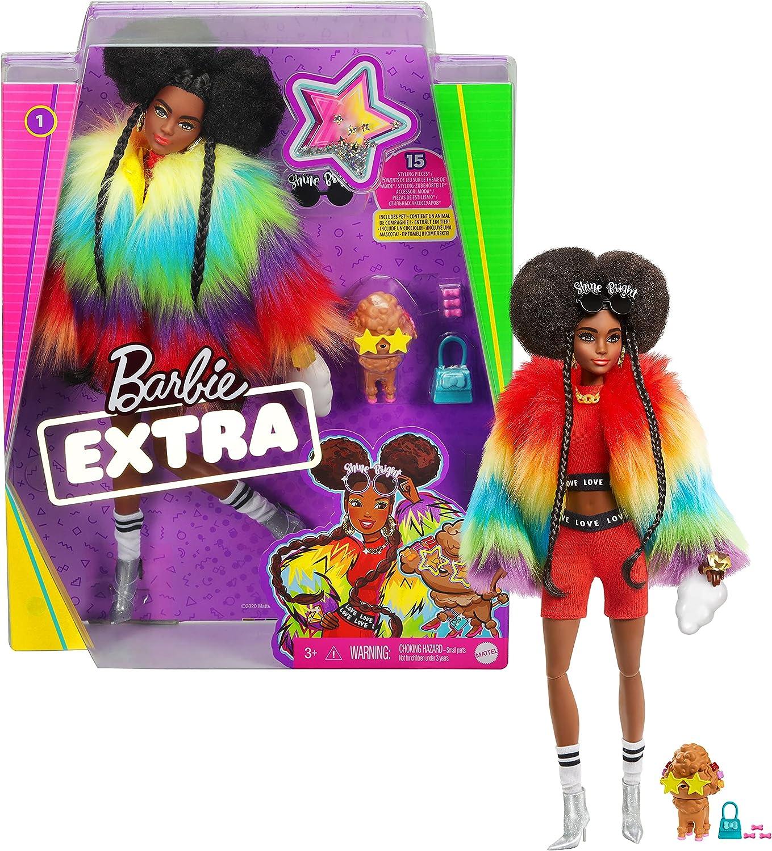 Barbie- Muñeca Extra 2 con un Look Brillante y cachorrito de Mascota, Color (Mattel GVR04)