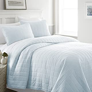 Becky Cameron Quilted Coverlet Set Square Patterned, King, Pale Blue